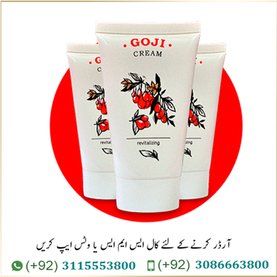 Goji Cream in Pakistan Goji Cream Price in Pakistan: 3000/- PKR cream Goji cream –works? results, side effects: Goji Cream in Pakistan Regardless of the factor that causes wrinkles, Goji Cream solves the problem effectively: the cream activates the internal anti-aging potential of the skin, removes signs of fatigue, smoothes and moisturizes, visibly improves skin tone and resistance. Your skin remains fresh and glows from the inside! You can find many positive comments on anti-aging Goji Cream. This cream is based on goji berries and other natural elements. It can moisturize, nourish and rejuvenate your skin. The effect from undergoing a full treatment course using the cream will provide you with the result similar to Botox injections. However, the option of using the cream will cost you significantly less. Besides, the cream will solve your problems painlessly. You might wonder why would anyone choose Goji Cream over many other products sold in local and online shops. But the answer is simple – all of those are synthetic and very limiting. What this means is that they can have negative effect on your skin, they only affect one skin issues, so you need many more products, and you never know what exactly is in the mixture.