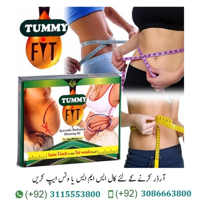 "Tummy Fit Oil in Pakistan Tummy Fit Oil in Pakistan Price: 4500/- PKR ORIGINAL Tummy Fit Oil in Pakistan Available ONLINE Tummy fit Oil in Pakistan is an Ayurvedic product that is a combination of 2 Healing Natural Sciences of ""Ayurveda & Solarisation"" and it is also famous with name of ""Oblation Therapy"". It is used to cut off fats layers in different parts of body such as belly, hips neck waist and any area of body you wish. Tummy Fit Oil increases the metabolism of the body and breaks down the cholesterol and Fats deposits, which reduces conversion of protein and carbohydrates to fat layers."