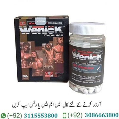 Wenick Capsules Price In Pakistan Wenick Capsules Price In Pakistan is a herbal powder containing capsules Effective, see results quickly Can drink with tea, fruit juice or any drink Passed an examination from the US Food and Drug Administration (FDA) (Food and Drug Administration) and through the use of the clinic for a long time until confident. Of course, Wenick Capsules Price In Pakistan does not contain drugs. No side effects And safe Can increase penis size by up to 30 % and 25% larger, increase sexual mood No residue in the kidneys No need to use an extension device, no surgery and you can live normally without having to change anything. Vinic is a truly scientific design. Whether there is a problem of premature ejaculation Penis is not erect, the doves do not tighten or fall in the mouth. These problems will disappear and you will be able to do activities with your lover for as long as you want. According to the American and Asian male test, aged from 20-65 years, 1,000 people can increase the length and length.Now Wenick Capsules Is Available In Pakistan.