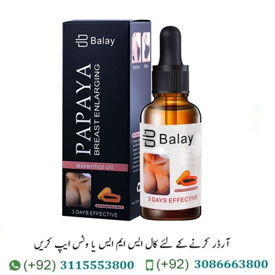 Balay Breast Enlargement Oil in Pakistan Bosom Balay Breast Enlargement Oil in Pakistan has been intended to help battle the issue of a drooping, misshapen bust. Its successful triple activity inspires listing bosoms, firms delicate greasy tissue. Balay Papaya Breast oil tones free skin to give you a firm, smooth and shapely bust. The bosoms are comprised of delicate greasy tissue upheld by pectoral muscles, which give the bust its shape and lift. Breast Enlargement Oil in Lahore | Breast Enlargement Oil in Karachi Breast Enlargement Oil used to notwithstanding, factors, for example, absence of activity, overabundance weight, pregnancy, less than stellar eating routine. Also use for helpless bra backing would all be able to make the muscles lose their lift, immovability and tone and cause the skin to relax and droop. Flaxseed oil is fast growing in popularity for its numerous health benefits. Balay Breast Enhancement Essential Oil in Pakistan To use every day before going to bed, you can get firm breasts, supple and full. For external use only, keep the product in a cool place and away from children This is a Private List! We will ship in discrete packaging. For best results apply it twice a day and massage well until absorbed. Place 3-5 drops in the palm of your hand. Balay Papaya Breast Enlarging Oil 30 Ml Online It's an ideal opportunity to find out about the advantages of normal bosom expansion oils. Produced using unadulterated plant separates, these oils are compelling in upgrading the size of your bustline. With customary utilization, you can see an improvement fit as a fiddle of your bosoms, alongside a slight expansion in the general cup size. Breast Enlargement Oil Available in All Cities Of Pakistan Balay Breast Enlargement Oil has sebum like consistency, alongside having comparable pH levels. This is the reason the oil gets immediately consumed by the skin and offers profound sustaining properties. It is especially helpful for improving bosom size becaus
